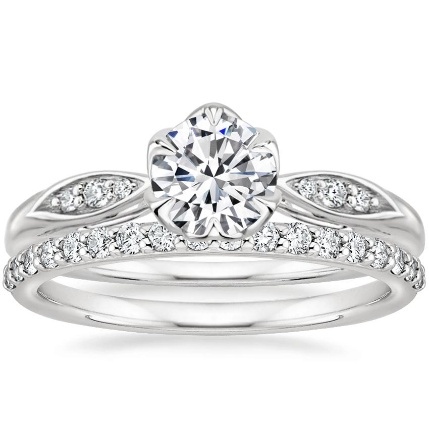 Platinum Peony Diamond Ring with Petite Shared Prong Diamond Ring (1/4 ct. tw.)