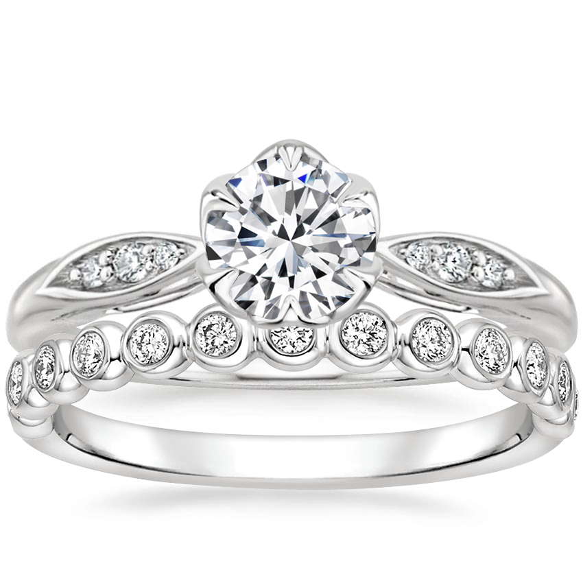 18K White Gold Peony Diamond Ring with Eclipse Diamond Ring