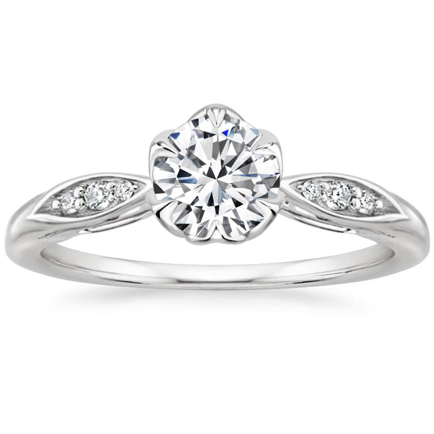 Round Floral Engagement Ring