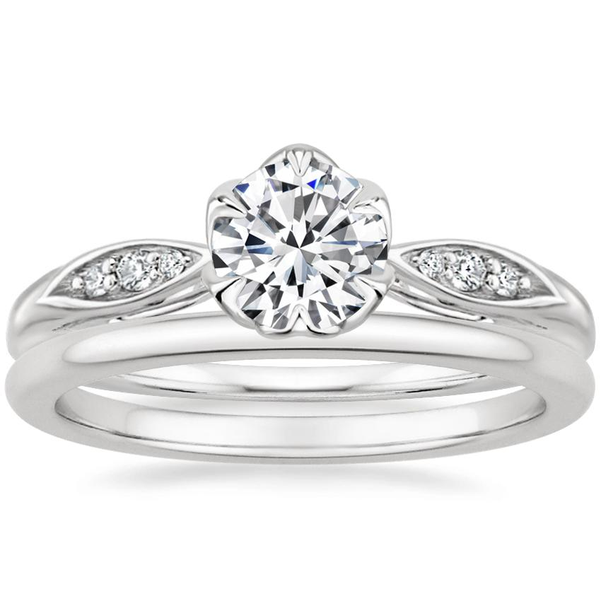 18K White Gold Peony Diamond Ring with Petite Comfort Fit Wedding Ring