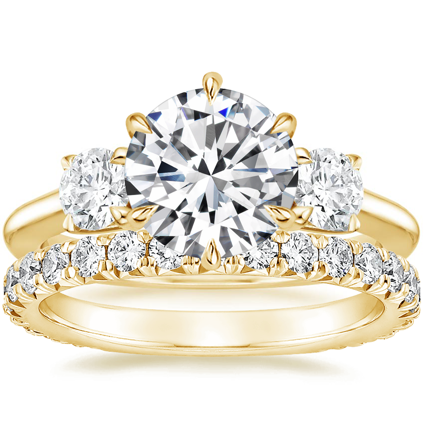 18K Yellow Gold Three Stone Catalina Diamond Ring (1/2 ct. tw.) with Luxe Sienna Diamond Ring (5/8 ct. tw.)