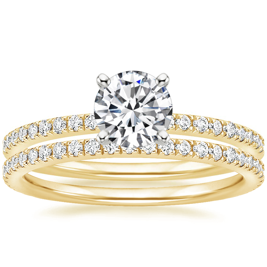 18K Yellow Gold Ballad Diamond Ring (1/8 ct. tw.) with Luxe Ballad Diamond Ring (1/4 ct. tw.)