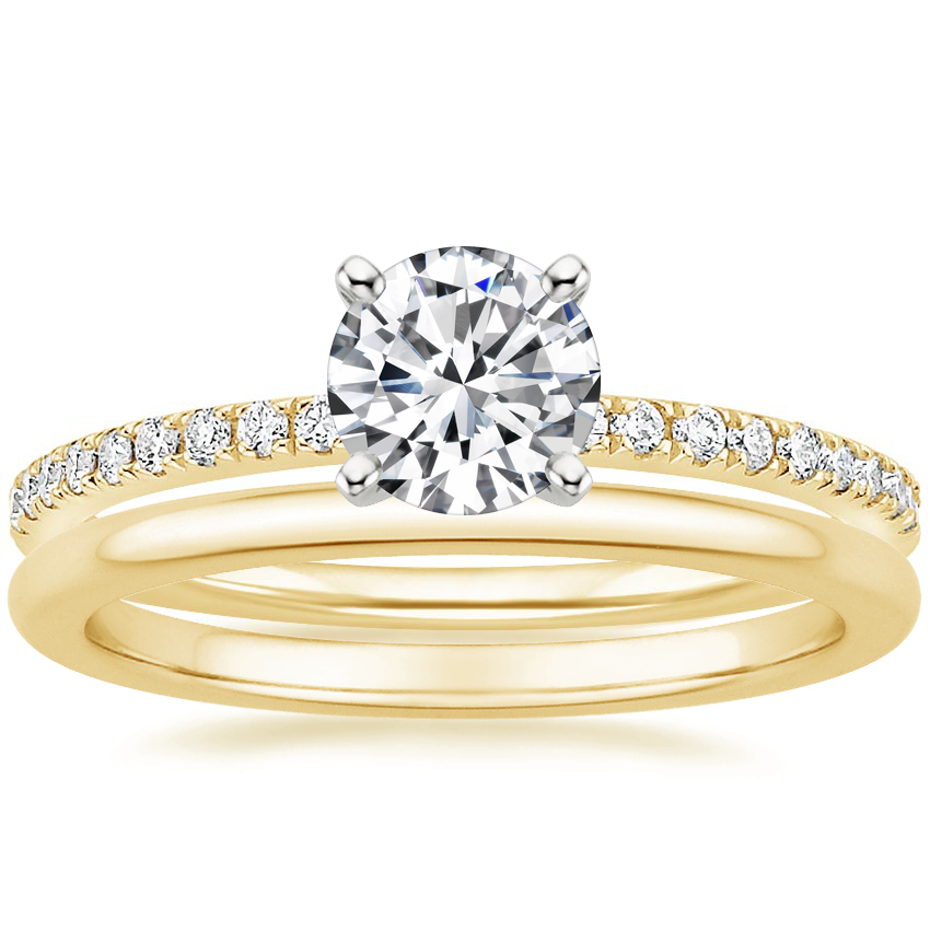 18K Yellow Gold Ballad Diamond Ring (1/8 ct. tw.) with Petite Comfort Fit Wedding Ring
