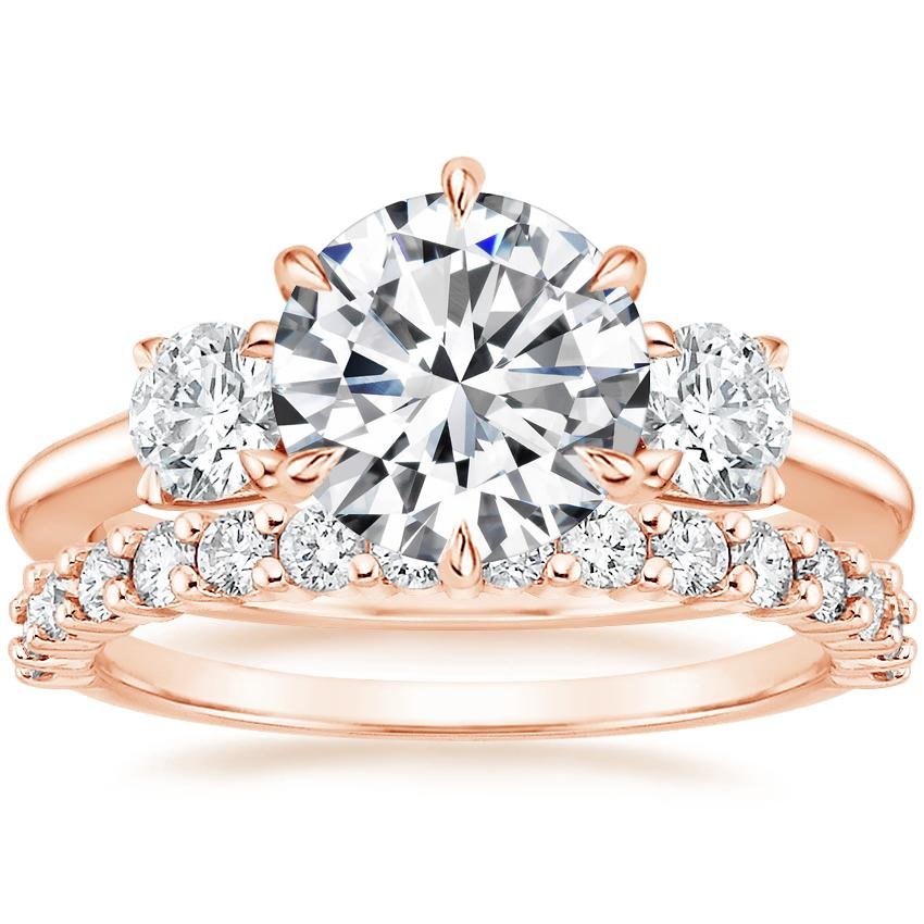 14K Rose Gold Three Stone Catalina Diamond Ring (1/2 ct. tw.) with Shared Prong Diamond Ring (2/5 ct. tw.)