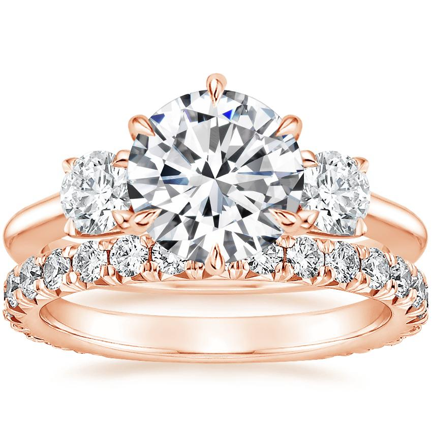 14K Rose Gold Three Stone Catalina Diamond Ring (1/2 ct. tw.) with Luxe Sienna Diamond Ring (5/8 ct. tw.)