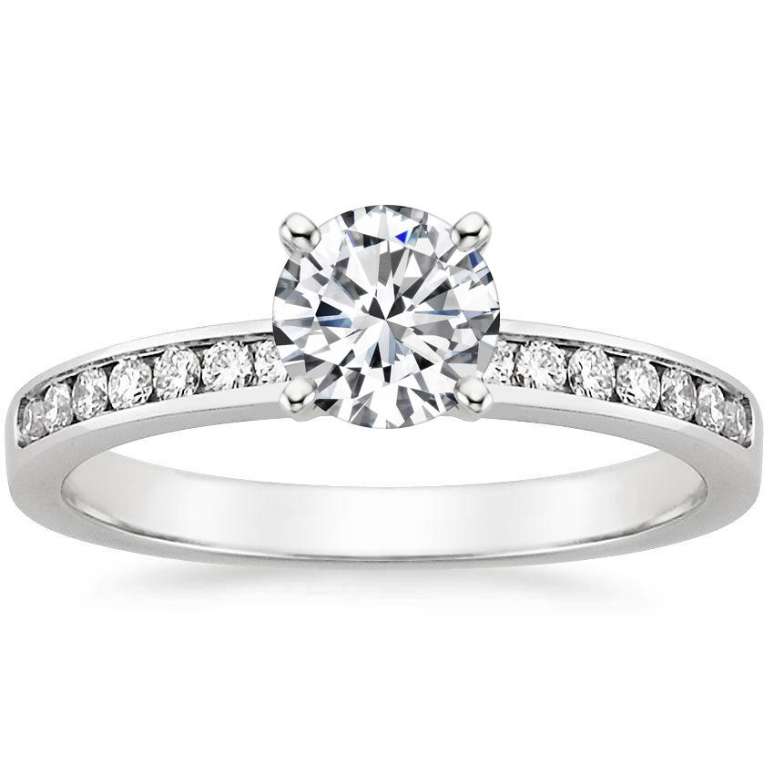 18K White Gold Petite Channel Set Round Diamond Ring, top view