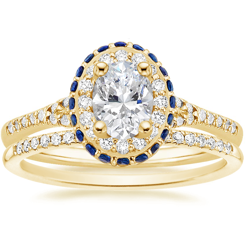 18K Yellow Gold Circa Diamond Ring with Sapphire Accents (1/3 ct. tw.) with Whisper Diamond Ring (1/10 ct. tw.)
