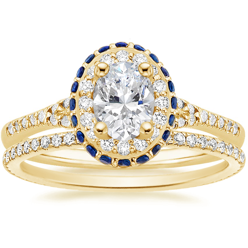 18K Yellow Gold Circa Diamond Ring with Sapphire Accents (1/3 ct. tw.) with Whisper Eternity Diamond Ring (1/4 ct. tw.)