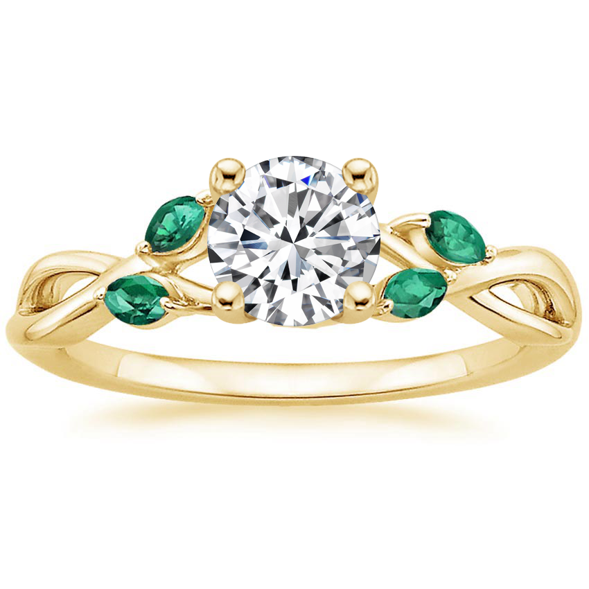 Round 18K Yellow Gold Willow Ring With Lab Emerald Accents