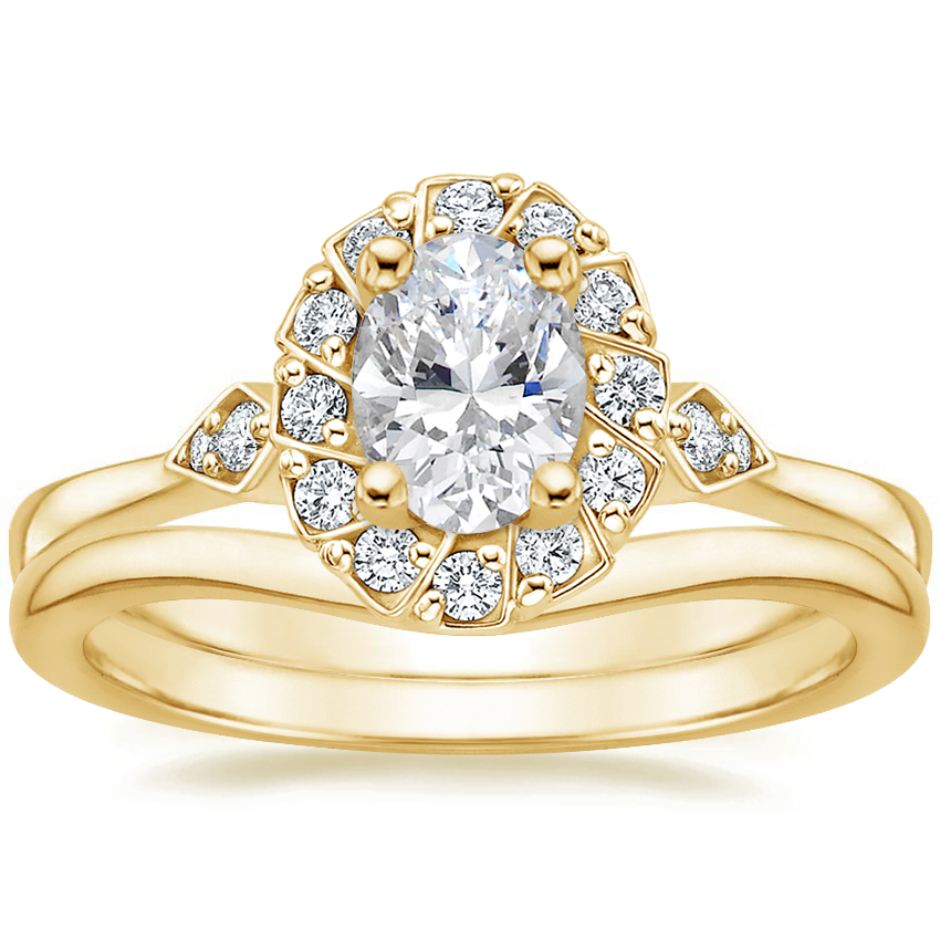 18K Yellow Gold Geo Halo Diamond Ring with Petite Curved Wedding Ring