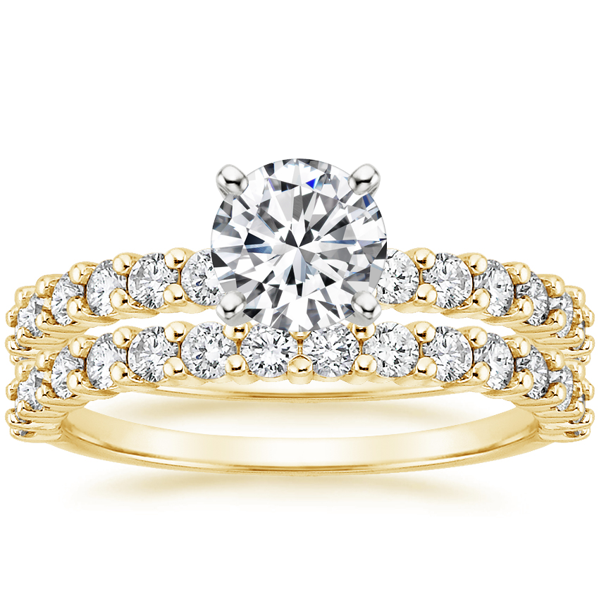 18K Yellow Gold Shared Prong Diamond Bridal Set (7/8 ct. tw.)