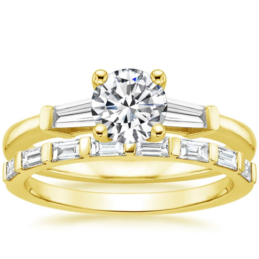 18K Yellow Gold Tapered Baguette Diamond Ring (1/5 ct. tw.) with Barre Diamond Ring (1/4 ct. tw.)