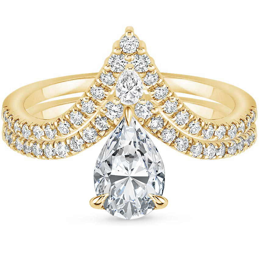 18K Yellow Gold Nouveau Diamond Bridal Set