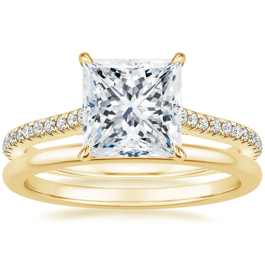 18K Yellow Gold Amelia Diamond Ring (1/3 ct. tw.) with Petite Comfort Fit Wedding Ring