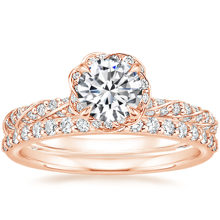 14K Rose Gold Nova Diamond Ring (1/2 ct. tw.) with Petite Shared Prong Diamond Ring (1/4 ct. tw.)