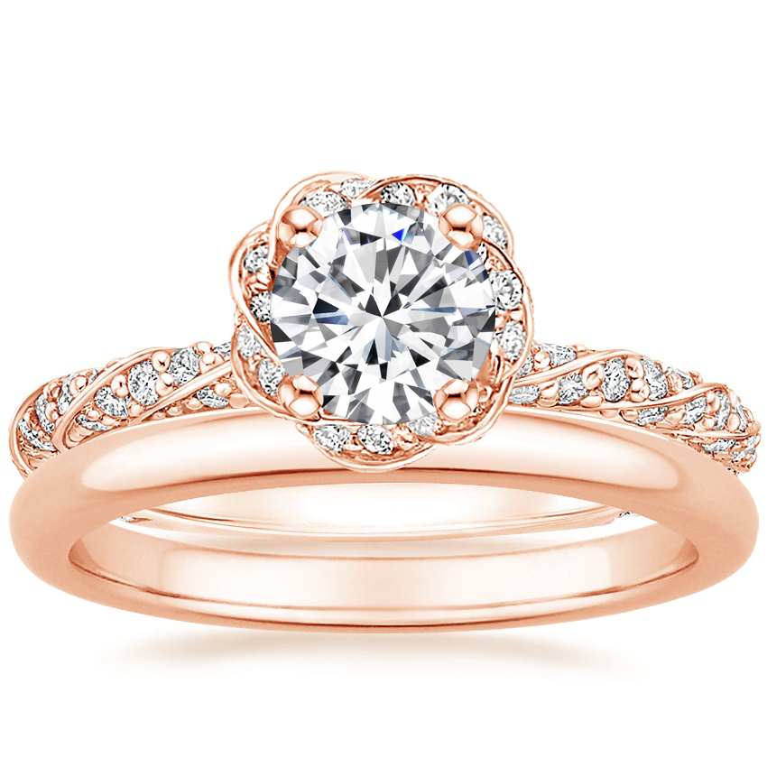 14K Rose Gold Cordoba Diamond Ring with 2mm Comfort Fit Wedding Ring