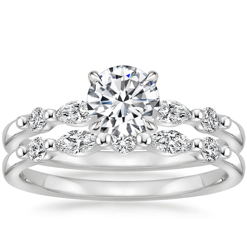 18K White Gold Petite Versailles Diamond Bridal Set (3/8 ct. tw.)