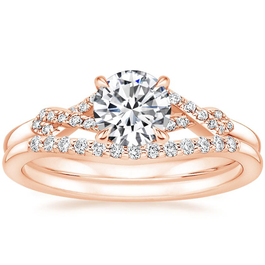 14K Rose Gold Delta Diamond Ring with Petite Curved Diamond Ring (1/10 ct. tw.)