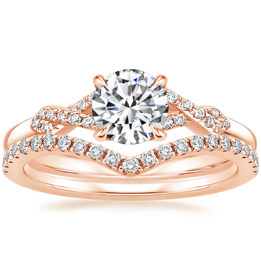 14K Rose Gold Geo Knot Diamond Ring with Flair Diamond Ring (1/6 ct. tw.)