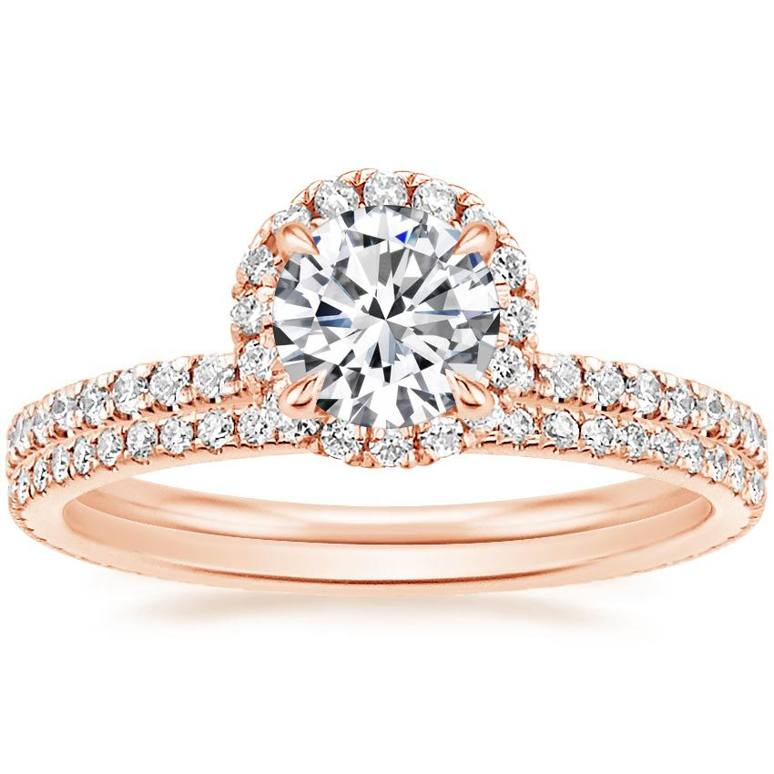 14K Rose Gold Waverly Diamond Ring (1/2 ct. tw.) with Whisper Eternity Diamond Ring (1/4 ct. tw.)