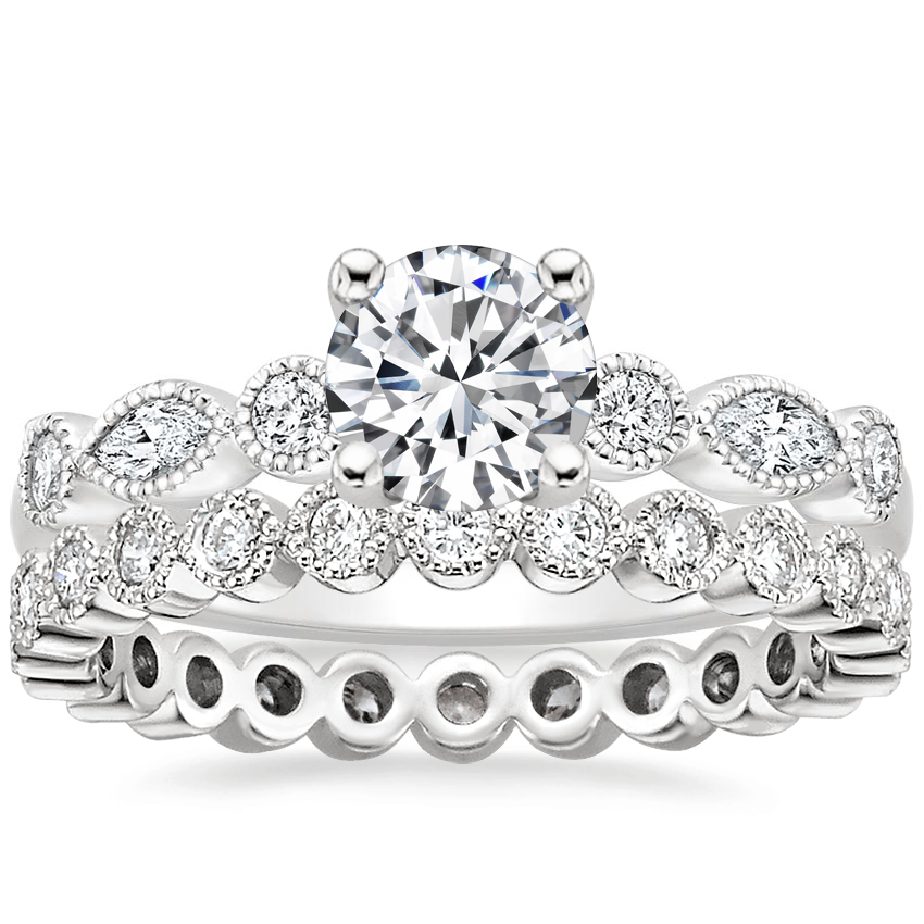 18K White Gold Rosalie Diamond Ring (1/4 ct. tw.) with Solstice Eternity Diamond Ring (1/3 ct. tw.)