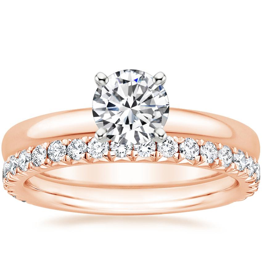 14K Rose Gold 2.5mm Comfort Fit Ring with Luxe Amelie Diamond Ring (1/2 ct. tw.)
