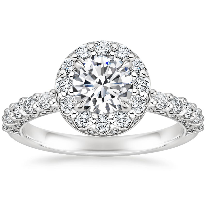 Round Luxe Shared Prong Halo Engagement Ring