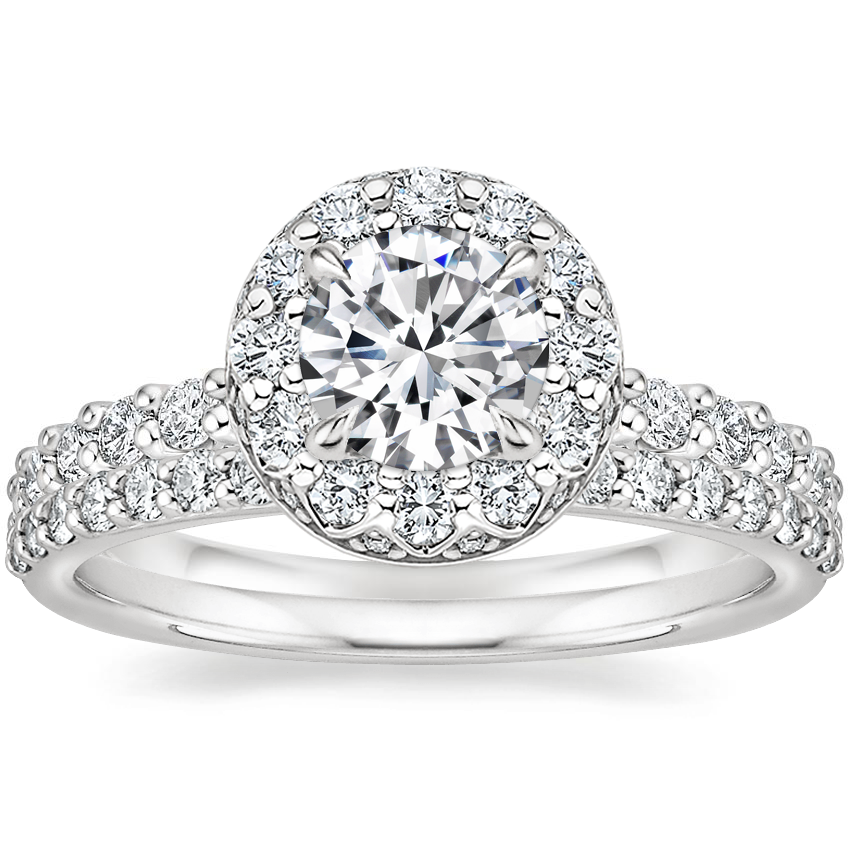 18K White Gold Lucinda Diamond Ring (2/3 ct. tw.) with Petite Shared Prong Diamond Ring (1/4 ct. tw.)