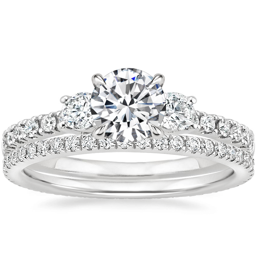Platinum Radiance Diamond Ring (1/3 ct. tw.) with Ballad Eternity Diamond Ring (1/3 ct. tw.)
