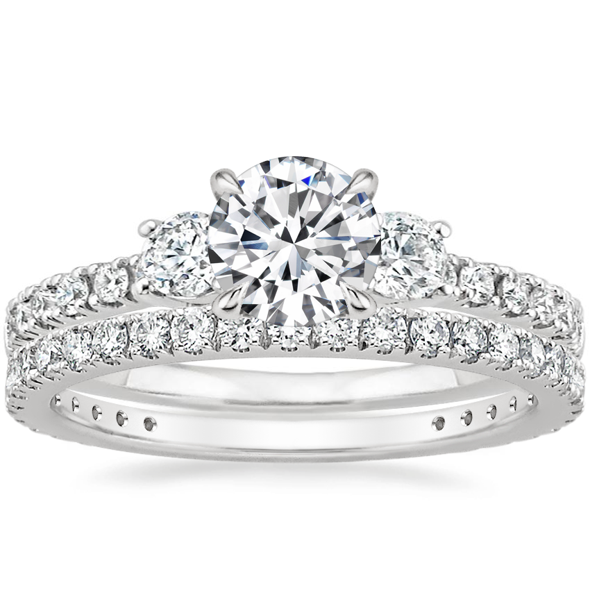 18K White Gold Radiance Diamond Ring (1/3 ct. tw.) with Luxe Bliss Diamond Ring (1/3 ct. tw.)