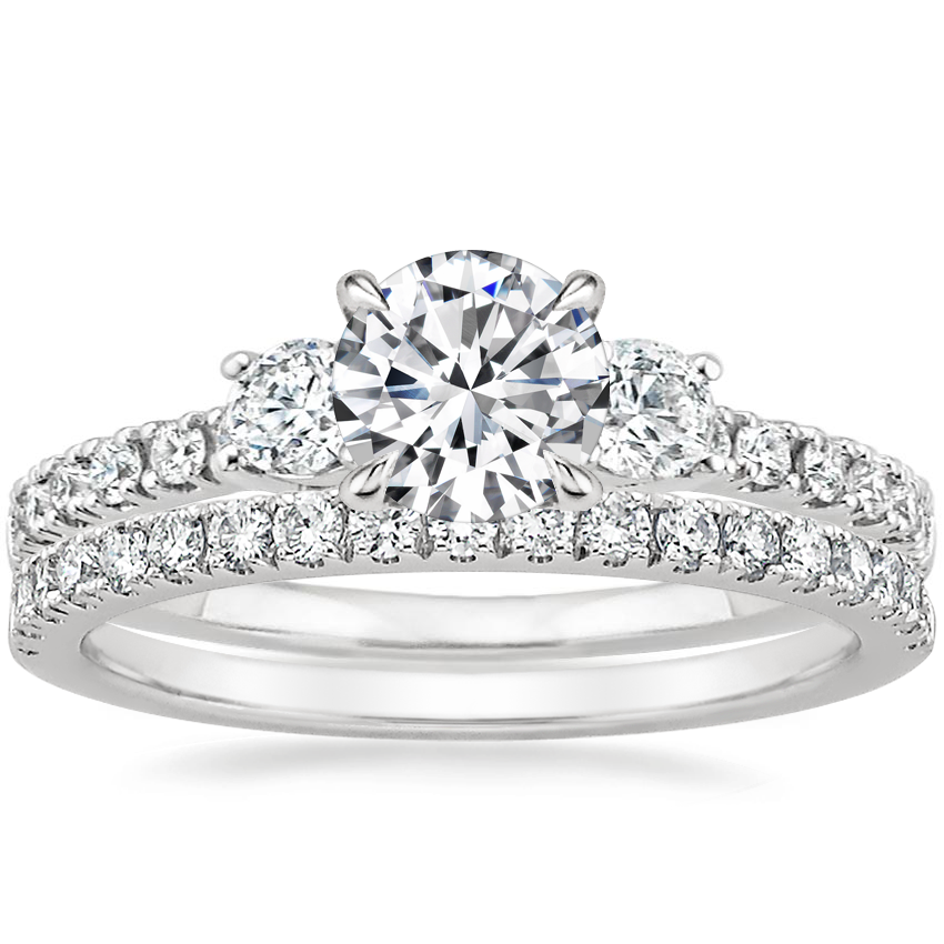 Platinum Radiance Diamond Ring (1/3 ct. tw.) with Bliss Diamond Ring (1/5 ct. tw.)