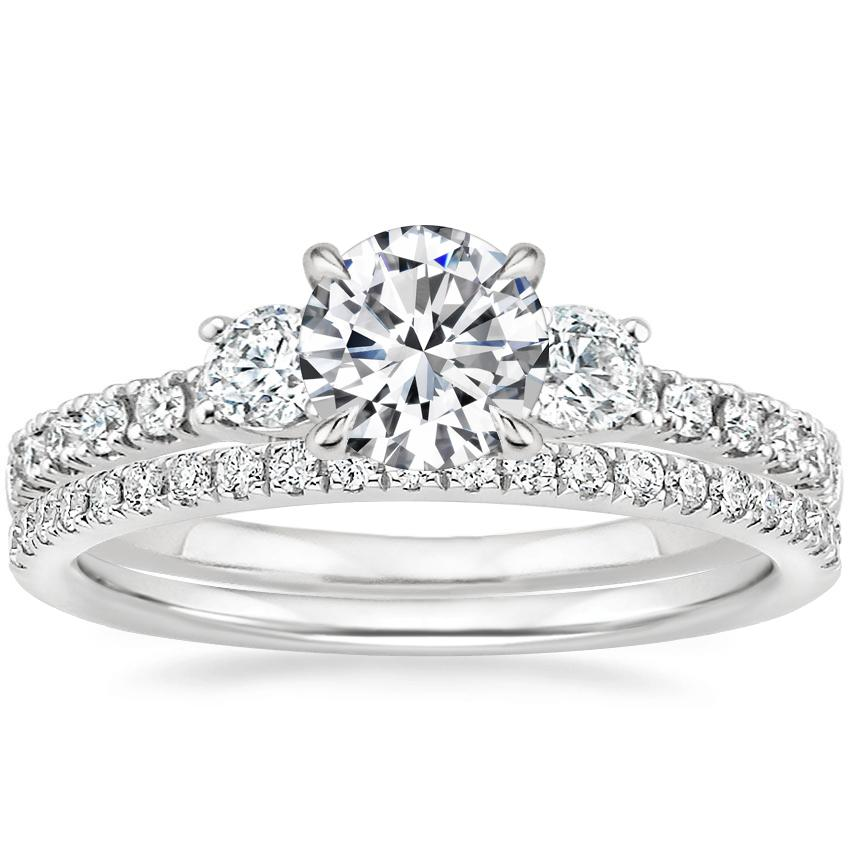 18K White Gold Radiance Diamond Ring (1/3 ct. tw.) with Ballad Diamond Ring (1/6 ct. tw.)