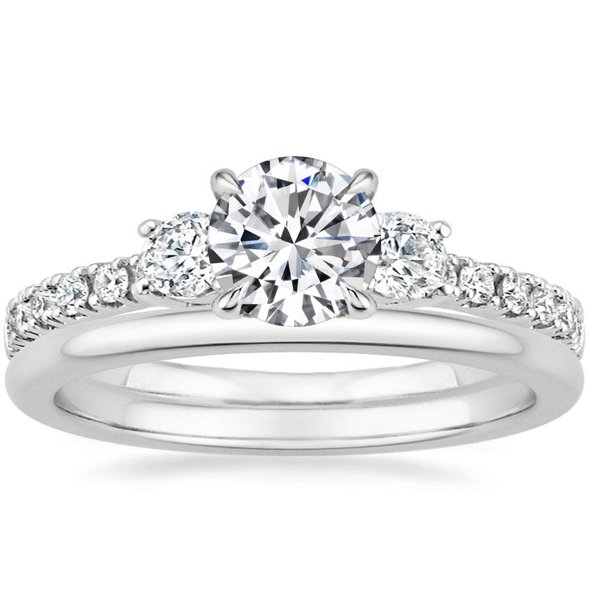 Platinum Radiance Diamond Ring (1/3 ct. tw.) with Petite Comfort Fit Wedding Ring
