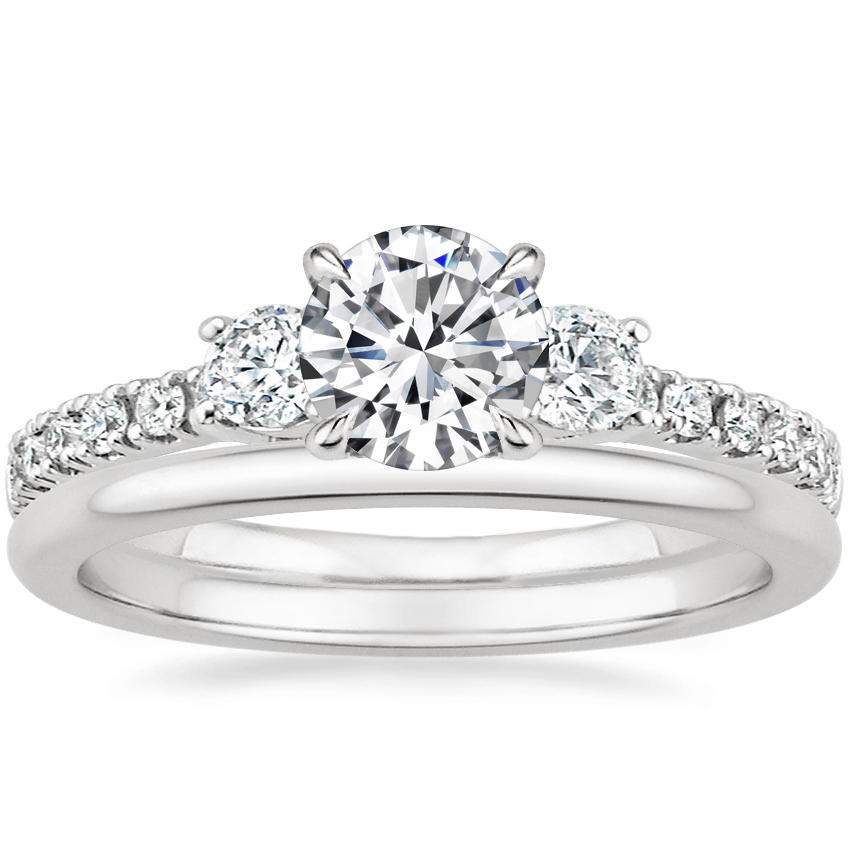 18K White Gold Radiance Diamond Ring (1/3 ct. tw.) with Petite Comfort Fit Wedding Ring