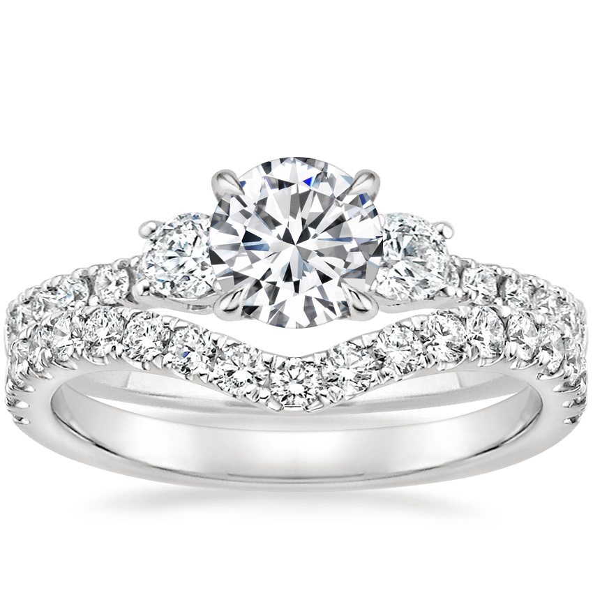 Platinum Radiance Diamond Ring (1/3 ct. tw.) with Luxe Flair Diamond Ring (1/3 ct. tw.)