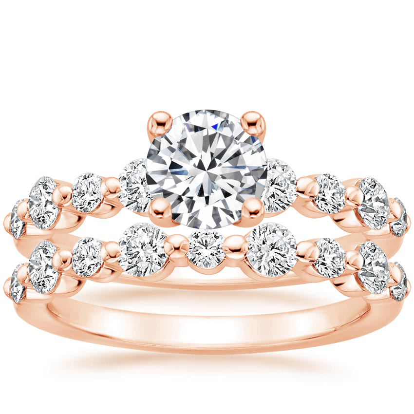 14K Rose Gold Bordeaux Diamond Bridal Set