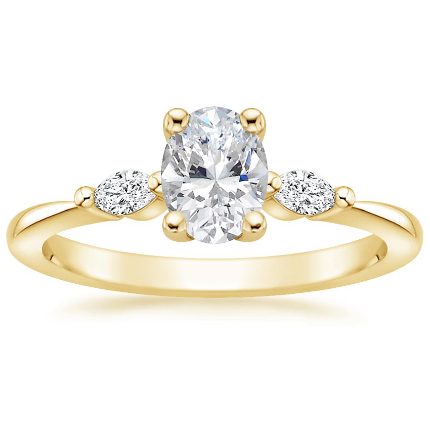 Oval Marquise Three Stone Engagement Ring