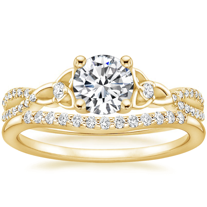 18K Yellow Gold Luxe Entwined Celtic Love Knot Diamond Ring with Petite Curved Diamond Ring (1/10 ct. tw.)