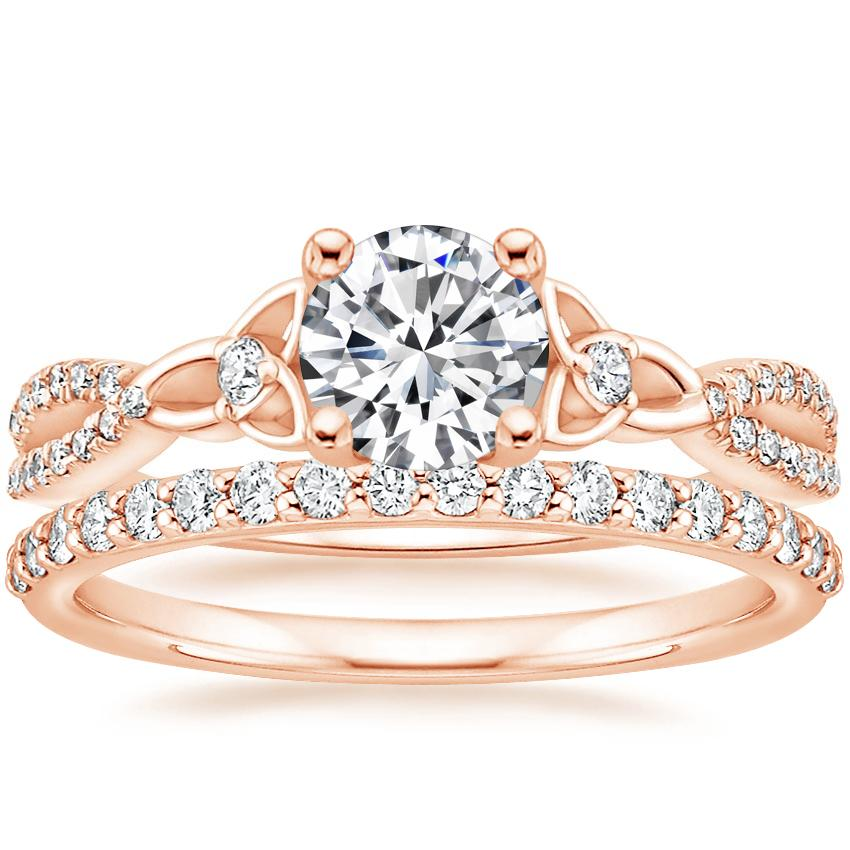 14K Rose Gold Luxe Entwined Celtic Love Knot Diamond Ring with Petite Shared Prong Diamond Ring (1/4 ct. tw.)