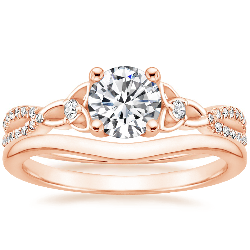 14K Rose Gold Luxe Entwined Celtic Love Knot Diamond Ring with Petite Curved Wedding Ring