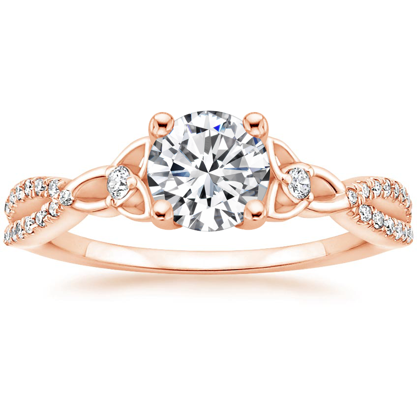 Round 14K Rose Gold Luxe Entwined Celtic Love Knot Diamond Ring