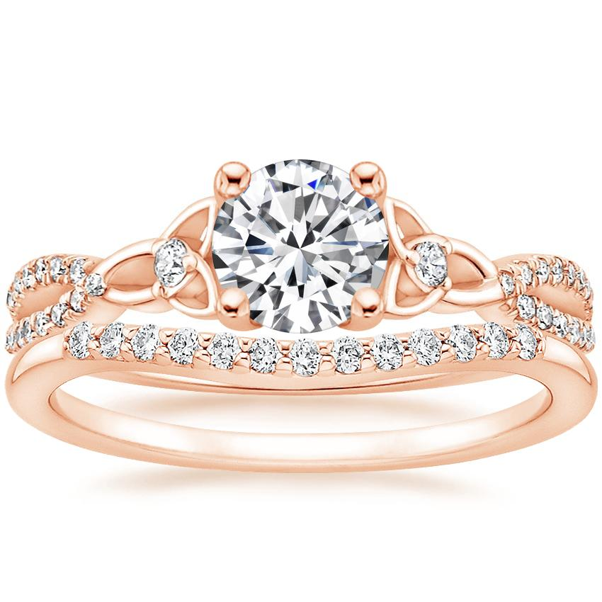 14K Rose Gold Luxe Entwined Celtic Love Knot Diamond Ring with Petite Curved Diamond Ring (1/10 ct. tw.)