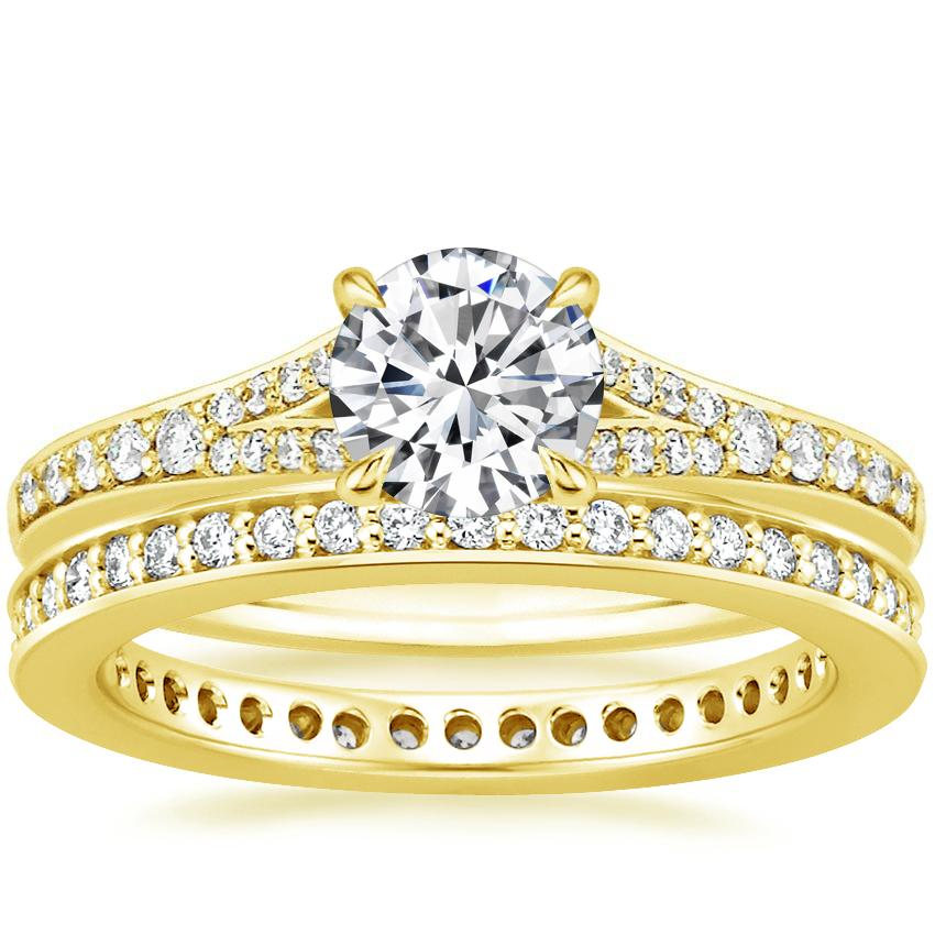 18K Yellow Gold Duet Diamond Ring with Starlight Eternity Diamond Ring (1/3 ct. tw.)
