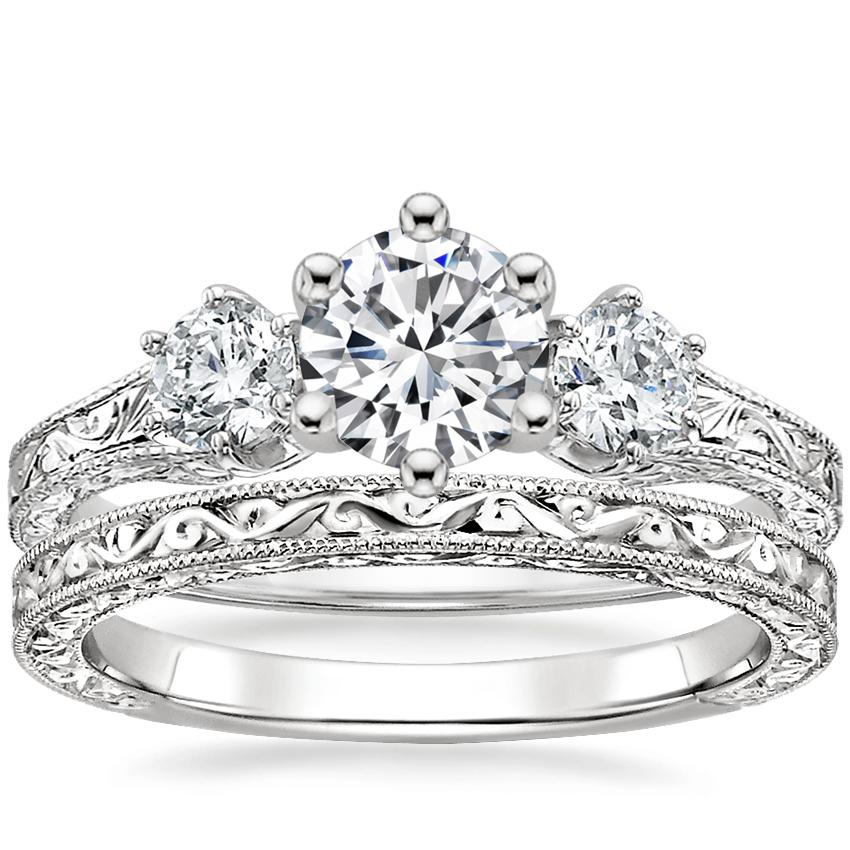 Platinum Three Stone Hudson Diamond Ring (1/3 ct. tw.) with Hudson Ring