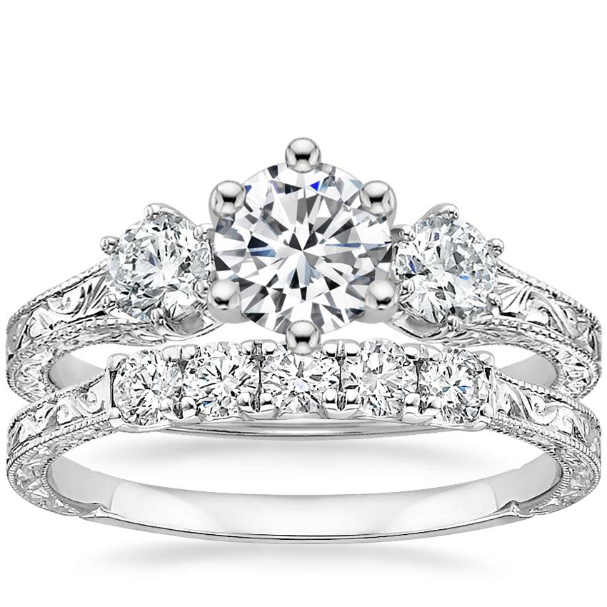 18K White Gold Three Stone Hudson Diamond Ring (1/3 ct. tw.) with Hudson Five Stone Diamond Ring (1/4 ct. tw.)