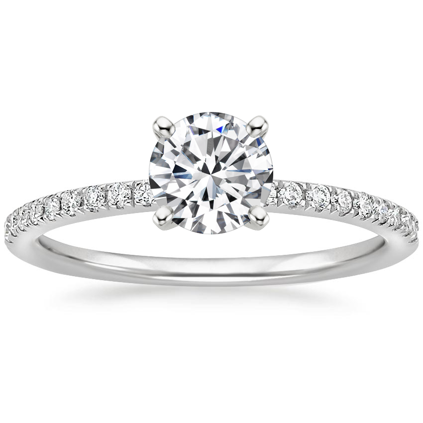 Round Scalloped Pavé Diamond Ring