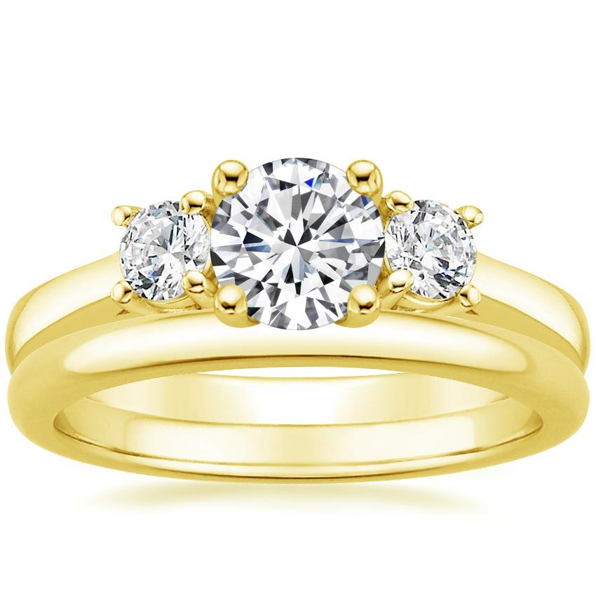 18K Yellow Gold Petite Three Stone Trellis Ring (1/3 ct. tw.) with 2mm Comfort Fit Wedding Ring