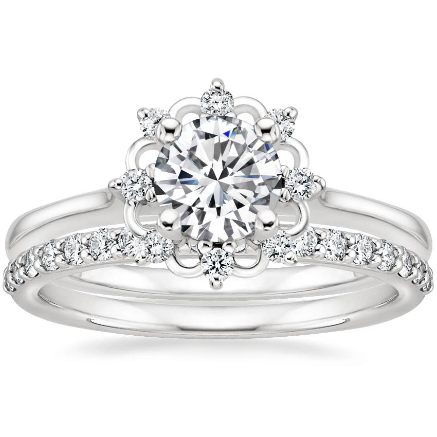 18K White Gold Chantilly Diamond Ring with Petite Shared Prong Diamond Ring (1/4 ct. tw.)