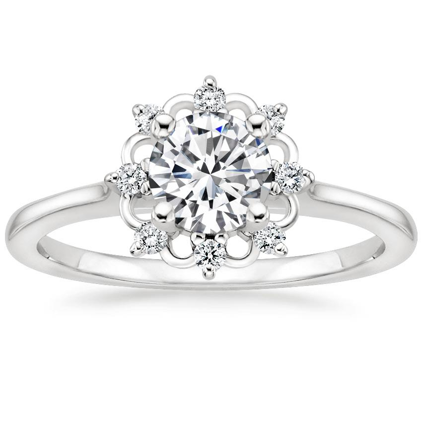 Round Lace Halo Engagement Ring