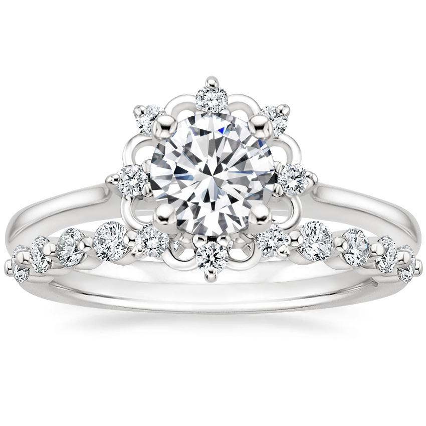 18K White Gold Chantilly Diamond Ring with Marseille Diamond Ring (1/3 ct. tw.)